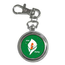 EASTER LILY 1916 IRISH REPUBLICAN RISING ROUND KEYCHAIN WATCH **LOVELY ITEM**