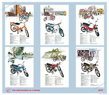 Classic Honda Motorcycle Poster lightweight bikes reproduced from 1975 brochure