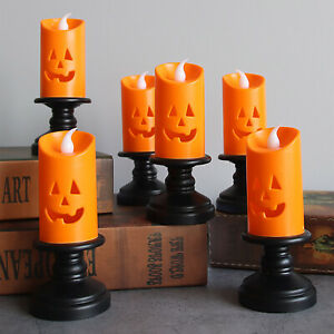 Halloween Candle Light LED Candlestick Lamp Holder Table Pumpkin NEW Party Decor