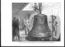 1878-antica stampa London St Paul'S CATHEDRAL il tenore Peal di campane (072b)