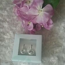 SEA Smadar Eliasaf Swarovski Crystal Earrings ~ 925 Silver Plated ~ NIB