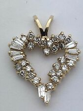 New 14K Yellow Gold Open Heart Charm Pendant with Round & Baguette Diamonds