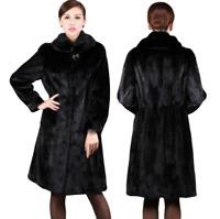 Women's Black Faux Mink Fur Overcoat Mid Long Winter Thicken Collared Jackets