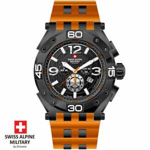 Swiss Alpine Military by Grovana 7032.9879 Chrono black orange Men's Watch NEW