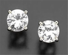1.1ct VS Natural White Sapphire 14K White Gold Stud Earrings Diamond Alternative
