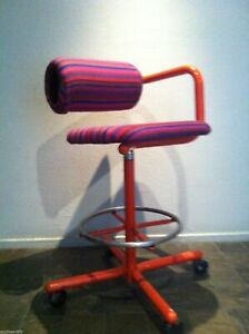 ALEXANDER GIRARD Fabric Purple Stripe ONE ARM DRAFTING CHAIR Eames Herman Miller