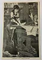 1885 magazine engraving~ WOMAN IN THE LIBRARY Conrad Kiesel