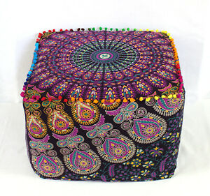 """22"""" Indian Mandala Square Ottoman Pouf Cover Footstool Seating Case Home Décor**"""