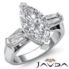 Classic Marquise Cut 3 Stone Diamond Engagement Ring GIA F SI1 Platinum 1.5 ct