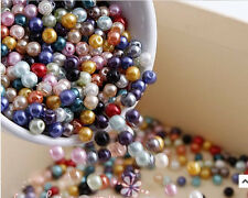 500X Multicolor Charm Round Pearl Imitation Acrylic Beads 4mm