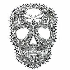 Rhinestone Iron On Transfer Hot fix Motif Fashion Design Jewellery Skull Story E