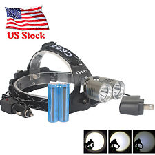 8000LM CREE U2 LED Headlamp 18650 Rechargeable Headlight 2PCS Battery Chargers