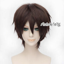 Anime Basic Attack on Titan Eren Yeager Cosplay Wig Short Dark Brown Hair+Cap