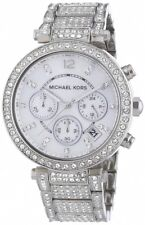 New Michael Kors MK5572 Parker Chronograph Crystal Glitz Silver Ladies Watch