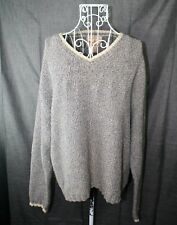 Woolrich Sweater Ladies Size Large Blue Tan  V neckline Long Sleeve Jumper