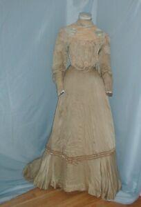 antique Dress Victorian 1890's Sage Green Satin Dress Lace Appliques