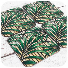Tropical Palm Leaf Print Coasters, Retro bamboo coasters, Tiki Bar Accessories