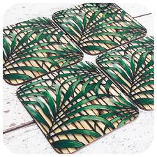 Tropical Leaf Print Coasters, Retro bamboo coasters, Tiki Bar Accessories