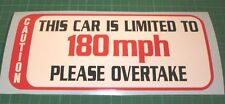 SPEED LIMITED DECAL STICKER 180 MPH TRACKDAY LE MANS