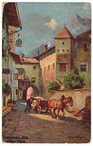 Kastelruth South Tyrol Northern Italy Old Town Colorized 6940 Vintage Postcard