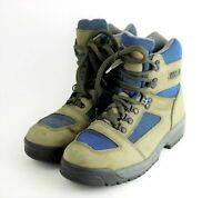 VTG LL BEAN Women's 9 - BROWN & BLUE LEATHER ANKLE BOOTS HIKING TRAIL WALKING