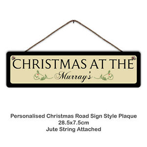 Personalised CHRISTMAS Road Sign Style Plaque -Metal Sign, Family, Gift, Festive