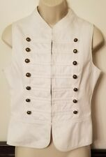 Romeo & Juliet Couture White Vest Accented In Golden Brass Studs Size Medium