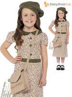 Girls 1940s WW2 Evacuee Costume World War Two VE 40's Kids Fancy Dress Book Day