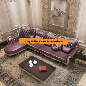 VIDA Luxury Italian Style Velvet Sofa Sectional Set. 3 Pieces. Plum Colored