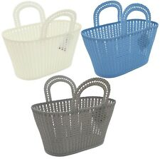 Rattan Plastic Storage Caddy STRONG Baskets With Handle Easy Cupboard Shelf Tidy