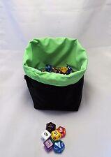 Green Dice Bag - Tile Pouch - Reversible Black Cotton Freestanding D&D RPG Games