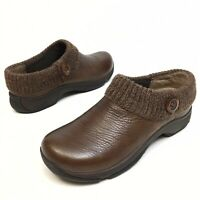 Dansko KENZIE Knit Clogs Women's Sz 10.5 /11 EU 41 Brown Distressed Leather (10