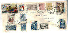 1919 Tenerife Spain COver to Sctoland France Red Cross Cinderella Labels