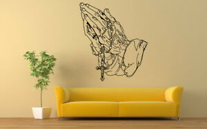 Wall Decal Sticker Praying Hands Religious Cross Beads Charm Christ Poster ZX381