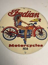 New ListingVintage Porcelain Indian Motorcycles Gas And Oil Sign
