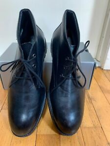 Black MEPHISTO Men Shoes Size 9 EUR 8.5 Leather Lace Up Boots - Portugal