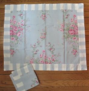 2 Simply Shabby Chic Cottage Rose Standard Shams Pink Blue White Floral Stripe