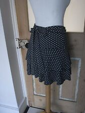 Spray grey x pale blue porkadot frilled flippy mini skirt with bow S