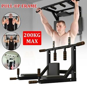 Pull Chin Up Dip Bar Padded Dipping Station Wall Mounted  Workout Gym Fitness