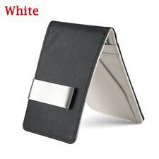Fashion Men Black Leather Money Clip Slim ID Credit Card Holder Purse Wallet White