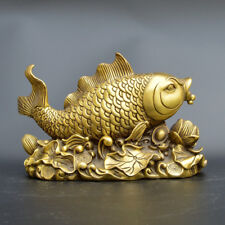 Chinese old collection handwork brass Yanbao louts flowers fish statue
