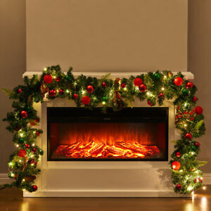 9FT Christmas Garland Decoration for Stair Fireplaces Door with 6M String Lights