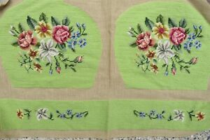Vintage Victorian Needlepoint Pr Seat Covers Petit Point Emb Rich Green Floral