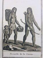 Guyane 1812 Indiens d'Amazonie Amérique Latine Rare Gravure Blanchard Ethnologie