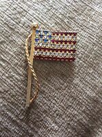 VINTAGE RED WHITE BLUE RHINESTONE AMERICAN FLAG POLE BROOCH or PIN-Free Shipping