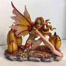 Orange Harvest Thanksgiving Fairy W Pumpkins Figurine Amy Brown Art Collection