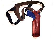 Fits All 9 mm barrel Vertical Shoulder Holster in Basket weave Genuine Leather.