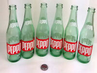 Vintage Peppo 10oz Soda Bottle Clear Green Tint Lot of 6