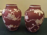 Pair (2) of Phoenix Florentine CAMEO Enameled Vases Bohemian Antique Glass