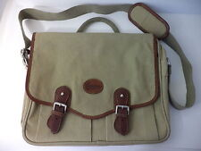 GUESS NATURAL CANVAS AND BROWN LEATHER BOOK BAG CARRY ALL SHOULDER BAG